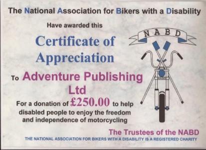 NABD Certificate of Appreciation