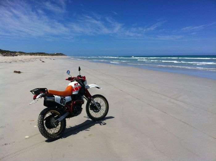 Motorcycle on a beach