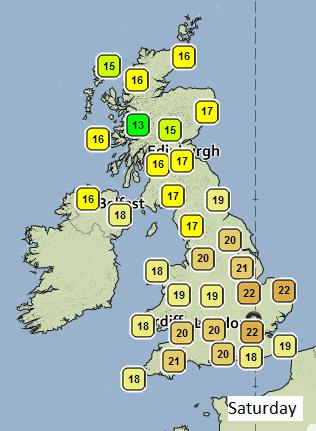 Temperature on Saturday