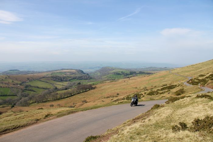 A motorcycle on Gospel Pass, Wales