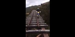 Watch: Crazy Colombian railway bridge crossing