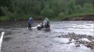 Crazy river crossing on Ural motorcycles