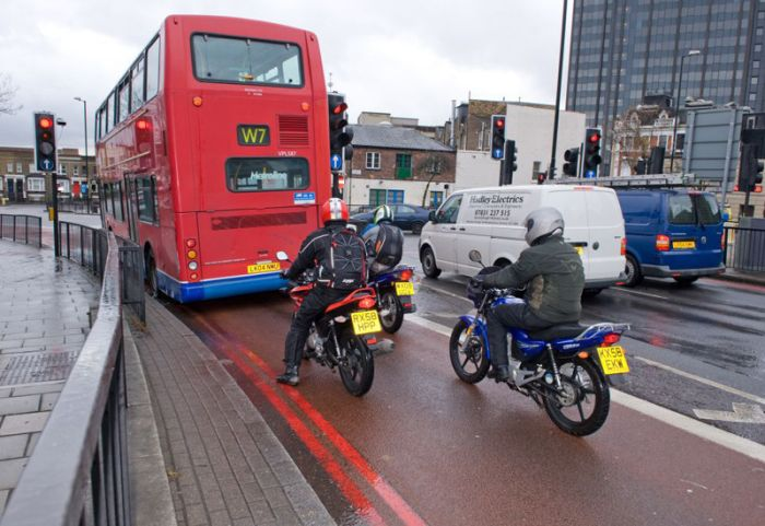 Motorcycles in bus lane