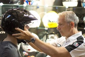 Helmet fitting at Bike Stop