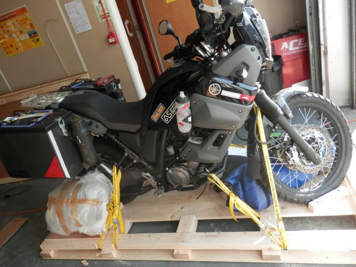 Palletising a motorbike for freighting