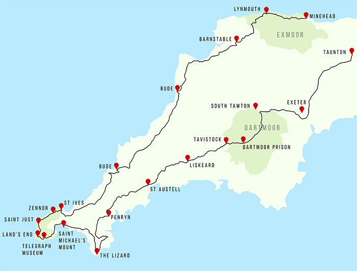 South West Coast motorcycle tour map