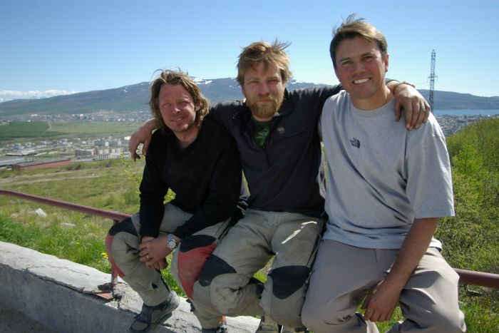 Charley Boorman, Ewan McGregor and Russ Malkin