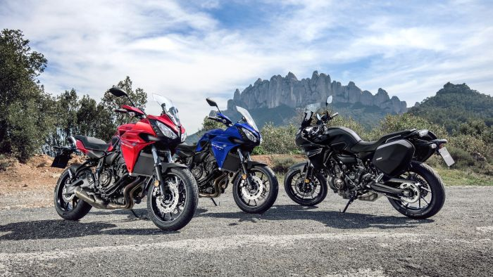 A group of yamaha tracer 700s