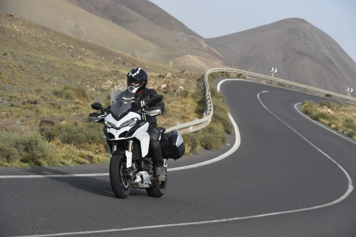 Ducati Multistrada on a twisty road