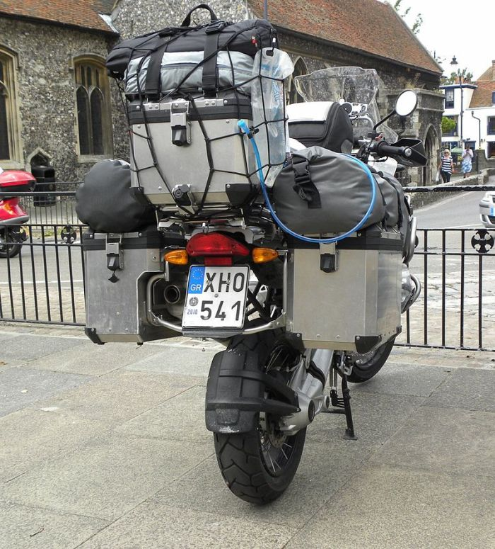 A heavily loaded motorcycle