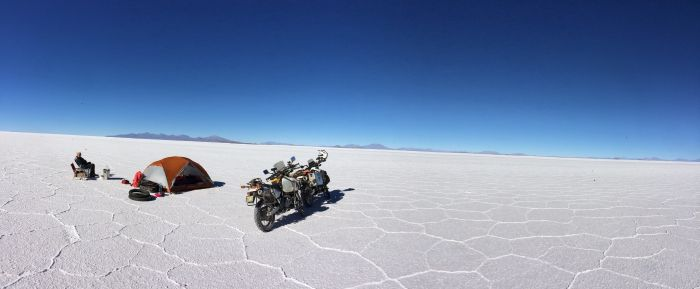 Camping on the Bolivian Salt Flats