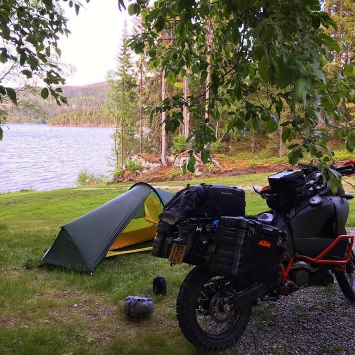 Motorcycle camping in Norway