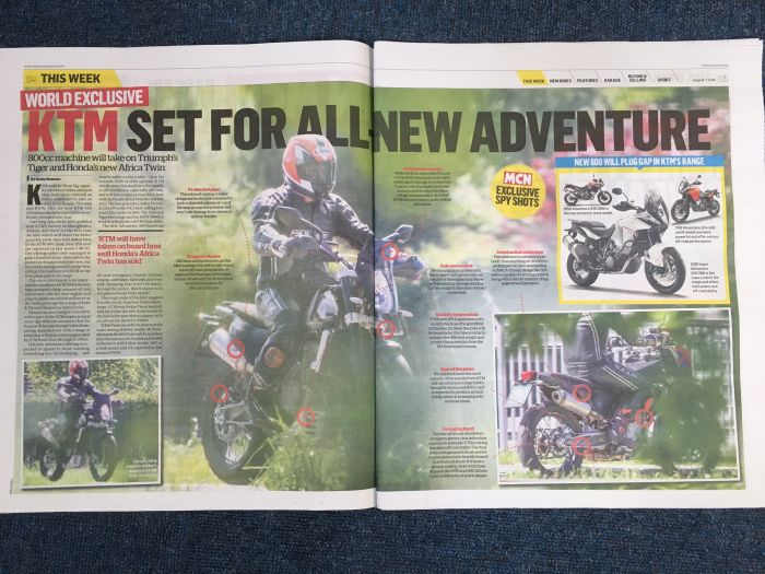 KTM 800 Adventure spy shots in MCN