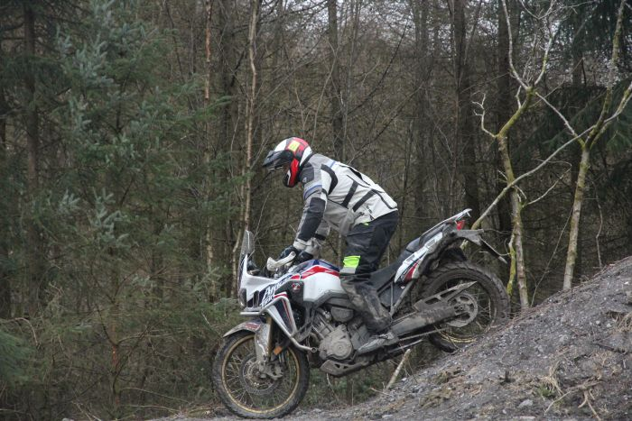 Riding an Africa Twin at the Dave Thorpe Adventure Centre