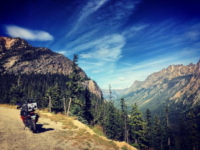 Riding Highway 20 in Washington, USA