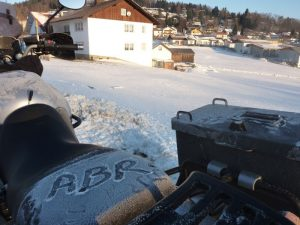 ABR written in the ice on a motorcycle saddle
