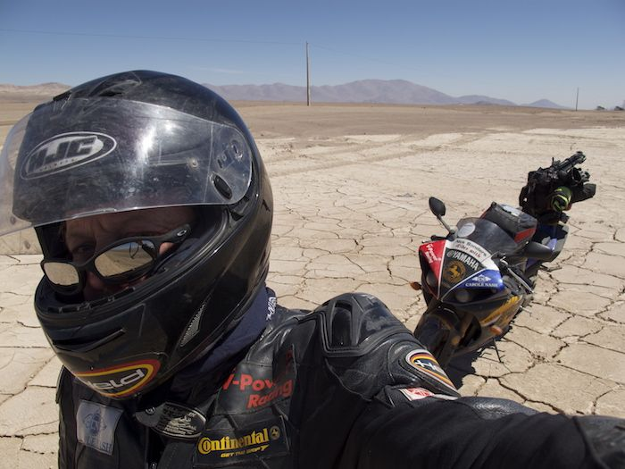 nick sanders and his R1 in the desert