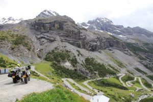 The Stelvio Pass and a motorcycle