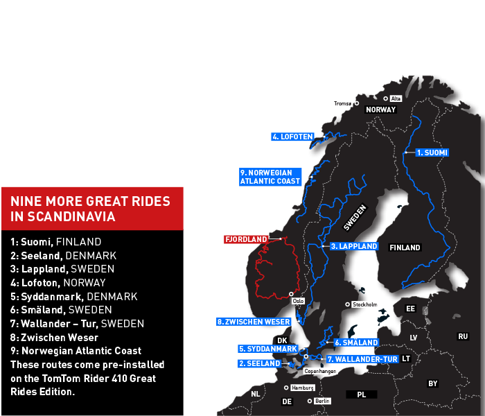 Motorcycle routes in Scandinavia
