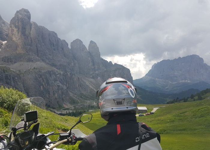 A motorcyclist in the Dolomites