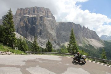 A motorcycle riding on the Sella Rondo in the Dolomites