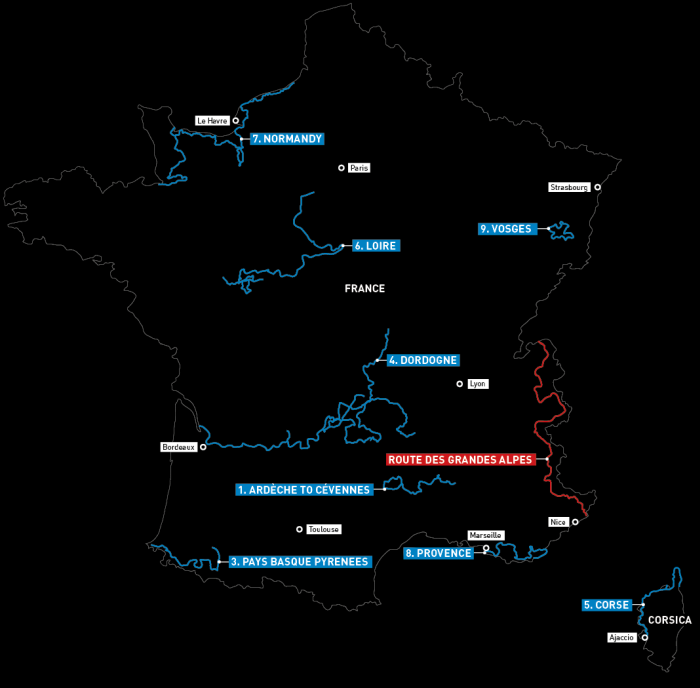Motorcycle routes in France