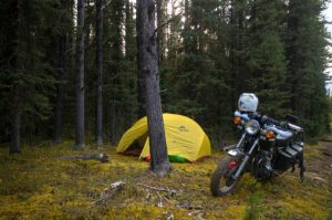 Wild camping motorcycle trip