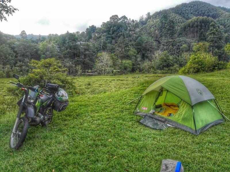 Wild camping in Salento Colombia