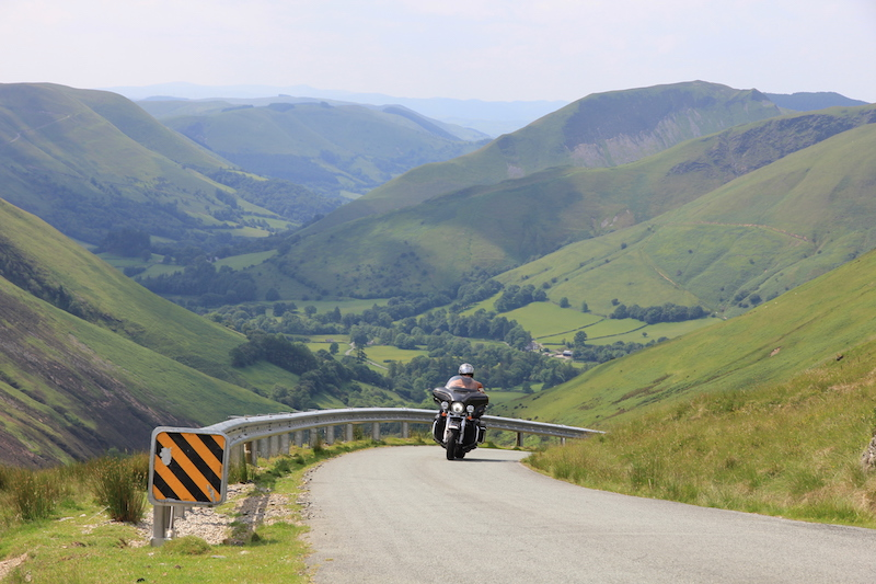 Motorcycle on Bwlch y Groes, also known as Hellfire Pass and Pass of the Cross
