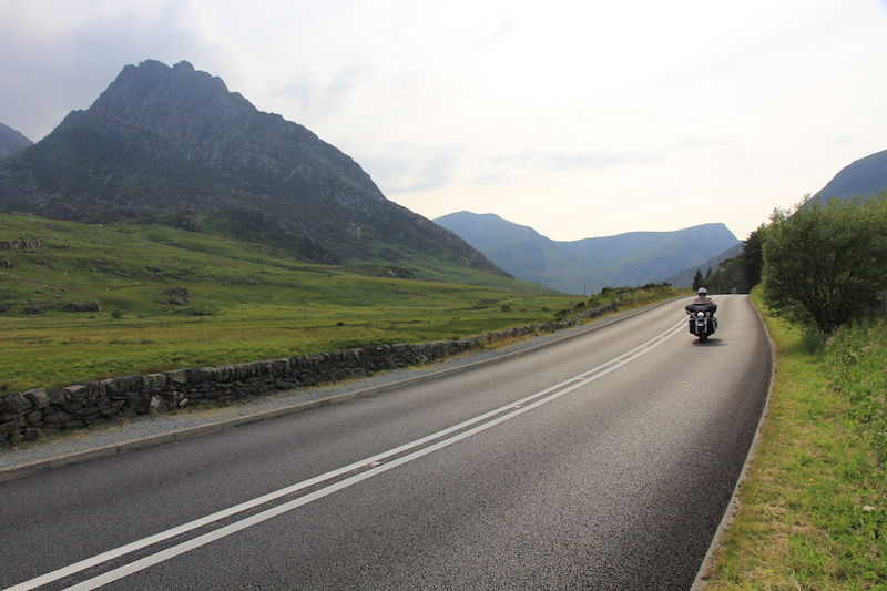 Harley Davidson with Tryfan in the background