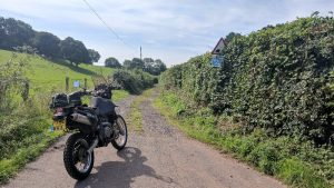 Motorcycling on gravel road