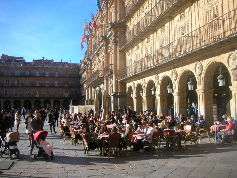 Town square in Salamanca, Spain