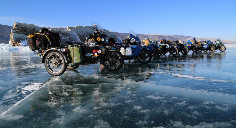 A series of ural side cars on the frozen lake baikal