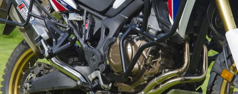 Exhaust pipes on a Honda Africa Twin