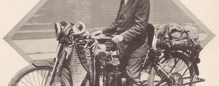 Carl Stearns Clancy on his Henderson motorcycle in 1913