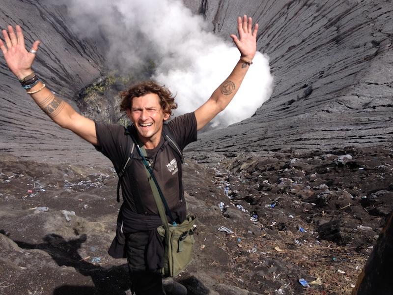 Dan Skeats by a volcano