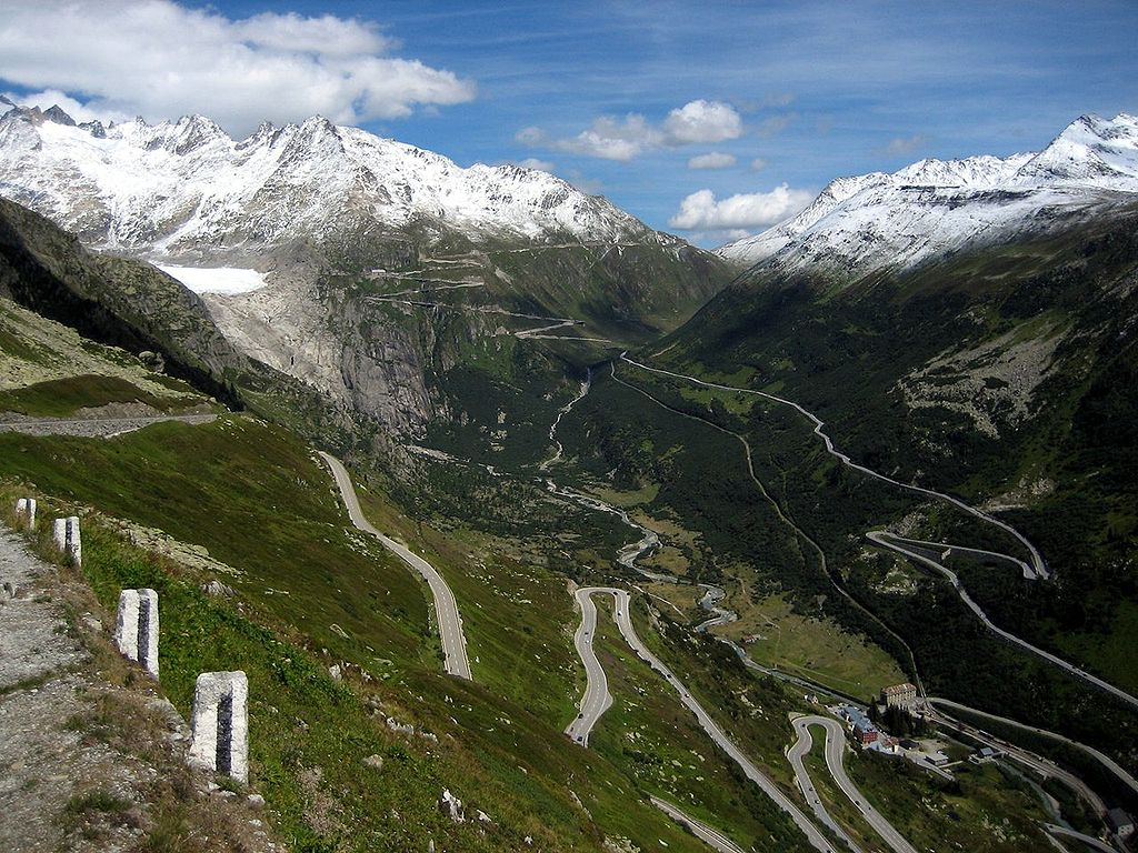 The Furka Pass high mountain road in Switzerland