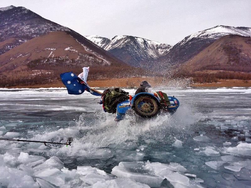 A Ural sidecar on lake baikal