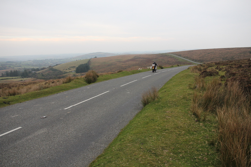 Motorcycle on a road in Dartmoor