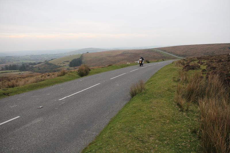 Motorcycle on a road in Dartmoor
