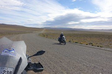 Motorcycle on Ruta 40 in Argentina