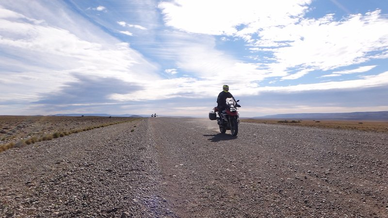 BMW motorcycle on wide open road in Argentina