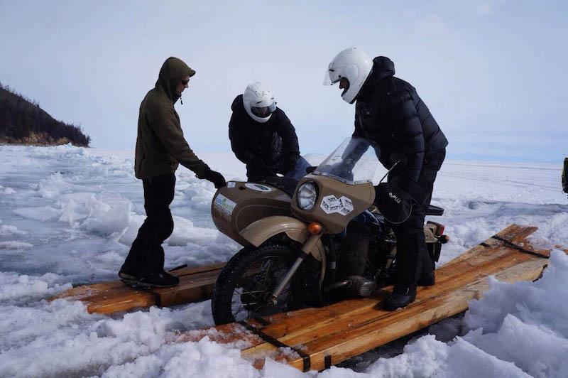 Crossing Lake Baikal by sidecar