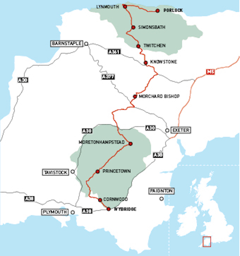 The Two Moors Way Route map