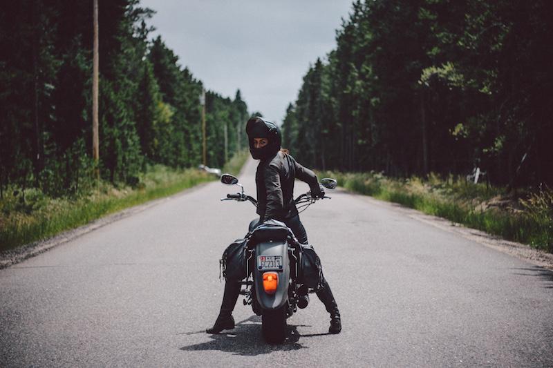 Female motorcyclist Janelle Kaczmarzewski