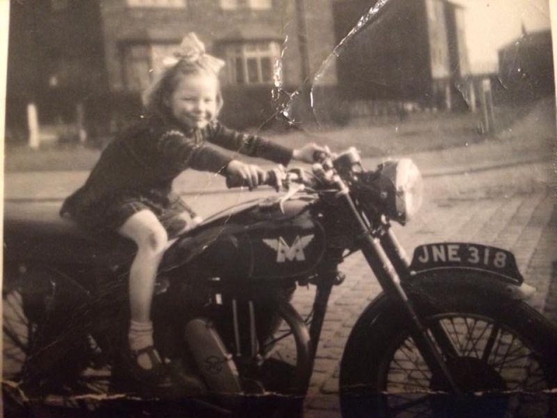 Little girl on motorcycle