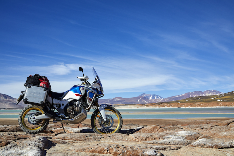 the honda crf1000l africa twin adventure sports with a nice landscape