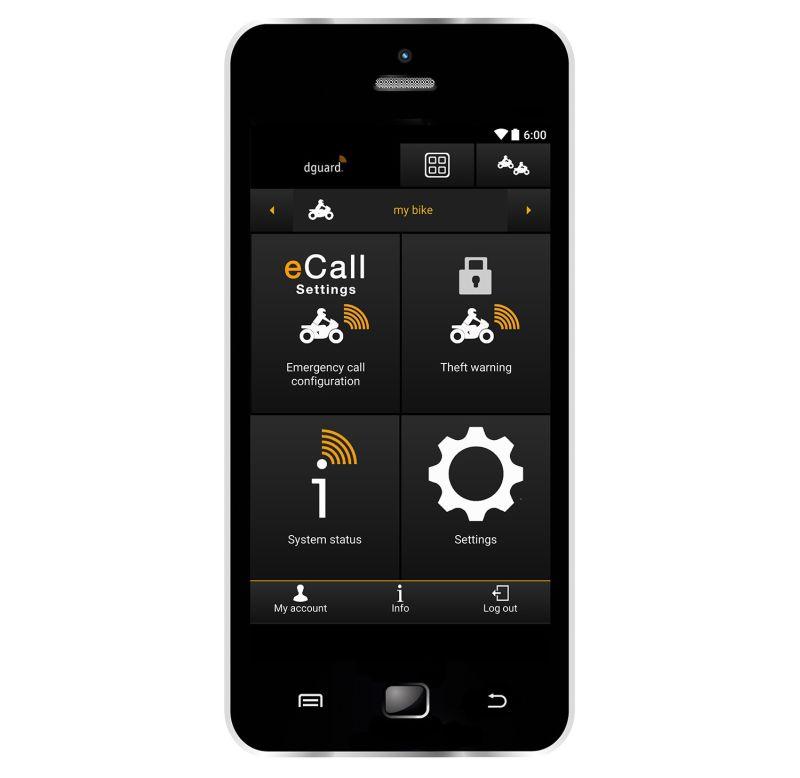 Dguard motorcycle smart phone app