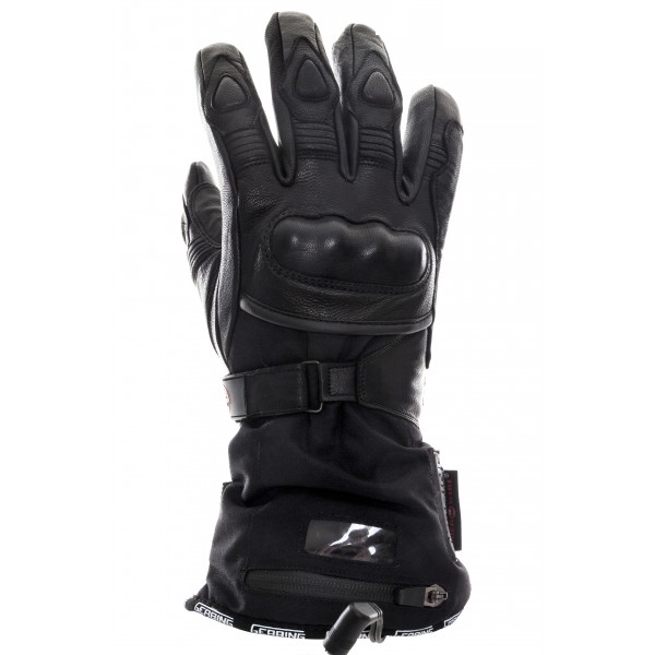 A pair of heated motorcycle gloves