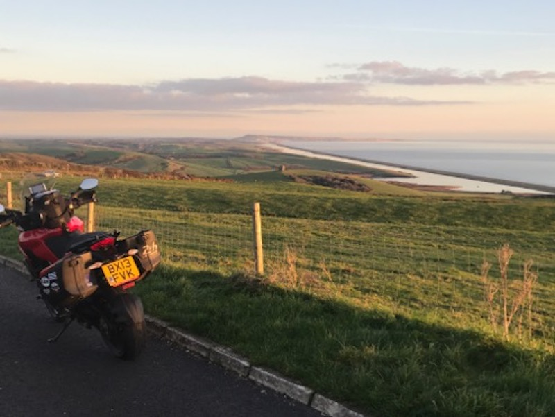 A Ducati Multistrada on the Jurassic Coast